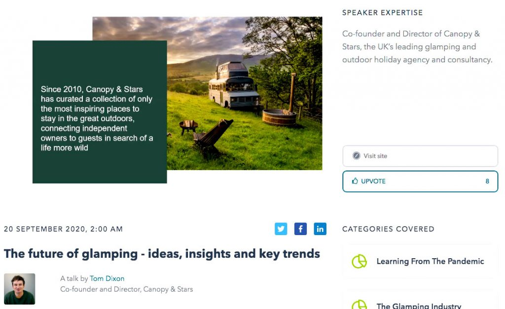 """Tom Dixon from """"Canopy and Stars"""" outlines his view of how glamping trends will unfold in the years ahead - ideas, insights and key trends; at the Glamping Show UK 2020."""